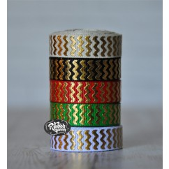 "5 yards 3/8"" Christmas Gold Foil Chevron Stripe Grosgrain Ribbon"