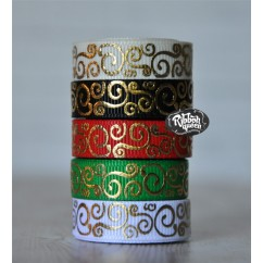 "5 yards 3/8"" Christmas Gold Foil Scroll Print Grosgrain Ribbon"