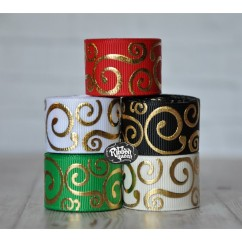 "5 yards 7/8"" Christmas Gold Foil Scroll Print Grosgrain Ribbon"