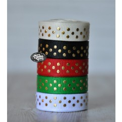 "5 yards 3/8"" Christmas Gold Foil Tiny Swiss Dot Grosgrain Ribbon"