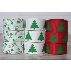 "5 yards 7/8"" Christmas Greenery Grosgrain Ribbon"