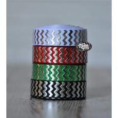 "5 yards 3/8"" Christmas Silver Foil Chevron Stripe Grosgrain Ribbon"