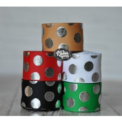 "5 yards 7/8"" Christmas Silver Foil Funky Dot Grosgrain Ribbon"