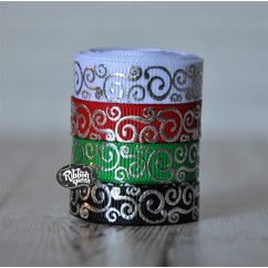 "5 yards 3/8"" Christmas Silver Foil Scroll Print Grosgrain Ribbon"