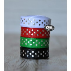 "5 yards 3/8"" Christmas Silver Foil Tiny Swiss Dot Grosgrain Ribbon"