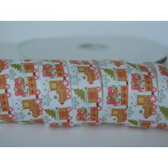 "5 yards 7/8"" Christmas Train Print Grosgrain Ribbon"