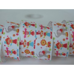 "5 yards 7/8"" Circus Friends Print Grosgrain Ribbon"