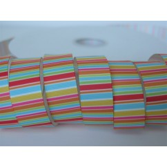 "5 yards 7/8"" Circus Stripe Print Grosgrain Ribbon"