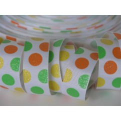 "5 yards 7/8"" Citrus Glitter Dots Print Grosgrain Ribbon"