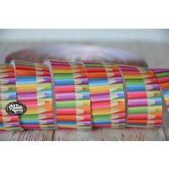 """5 yards 1"""" Colored Pencils Print Grosgrain Ribbon"""