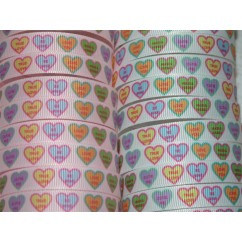 "5 yards 3/8"" Conversation Hearts Print Grosgrain Ribbon"