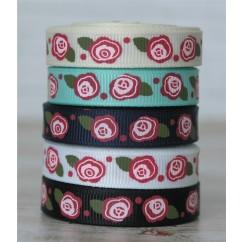 """3 yards 3/8"""" Country Roses Print Grosgrain Ribbon"""