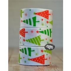"5 yards 1"" Crazy Christmas Trees Print Grosgrain Ribbon"