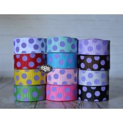 "5 yards 7/8"" Delphinium Purple Funky Dots Grosgrain Ribbon"