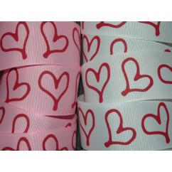 "5 yards 1.5"" Drawn Heart Print Grosgrain Ribbon"
