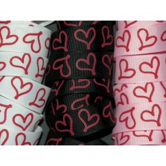 "5 yards 7/8"" Drawn Heart Print Grosgrain Ribbon"