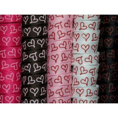"5 yards 3/8"" Drawn Heart Print Grosgrain Ribbon"