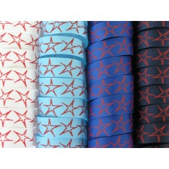 "5 yards 7/8"" Drawn Star Print Grosgrain Ribbon"
