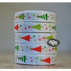 "5 yards 3/8"" Crazy Christmas Trees Print Grosgrain Ribbon"