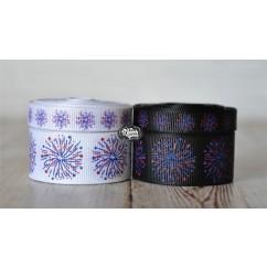 5 yards Dazzling Fireworks Print Grosgrain Ribbon