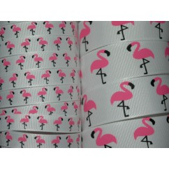 5 yards Flamingo Print Grosgrain Ribbon