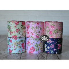 "5 yards 1.5"" Flower Garden Print Grosgrain Ribbon"