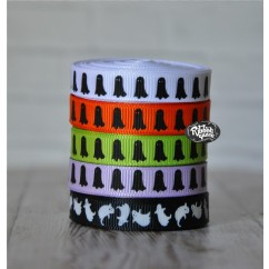 "5 yards 3/8"" Halloween Ghost Print Grosgrain Ribbon"