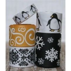 10 yards Winter Penguin Ribbon Mix