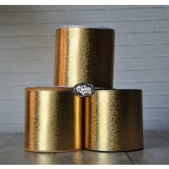 """5 yards 3"""" Gold Hologram Foil Print Grosgrain Ribbon Holographic"""