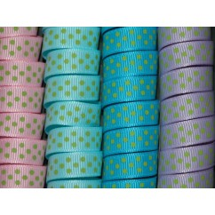 "5 yards 3/8"" Green Tiny Swiss Dot Grosgrain Ribbon"