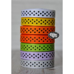 "5 yards 3/8"" Halloween Black Tiny Swiss Dot Grosgrain Ribbon"