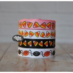 "5 yards 3/8"" Halloween Candy Print Grosgrain Ribbon"