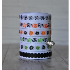 "5 yards 3/8"" Halloween Patterns Grosgrain Ribbon"