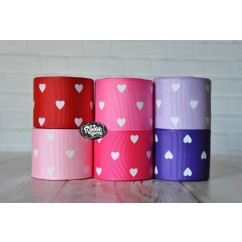 "5 yards 1.5"" Heart Print Grosgrain Ribbon"