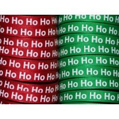 """100 yards 3/8"""" Ho Ho Ho Print Grosgrain Ribbon"""