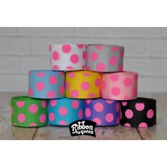 "5 yards 7/8"" Hot Pink Funky Dots Grosgrain Ribbon"