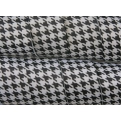 "1.5"" Black & White Houndstooth Print Grosgrain Ribbon"
