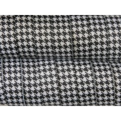 "7/8"" Black & White Houndstooth Print Grosgrain Ribbon"