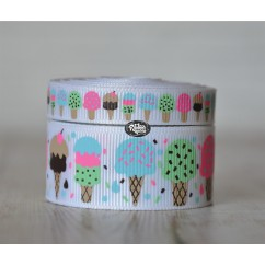 5 yards Ice Cream Cone Print Grosgrain Ribbon