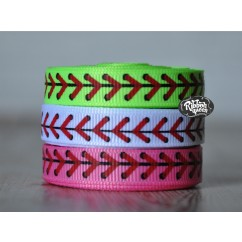 "5 yards 3/8"" Baseball & Softball Laces Print Grosgrain Ribbon"