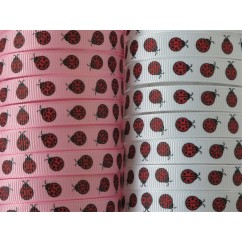 5 yards Ladybug Print Grosgrain Ribbon