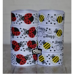"7/8"" Ladybugs & Bees Grosgrain Ribbon"