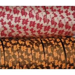"5 yards 3/8"" Fallen Leaf Print Grosgrain Ribbon"