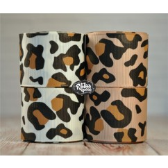 "5 yards 1.5"" Leopard and Cheetah Print Grosgrain Ribbon"