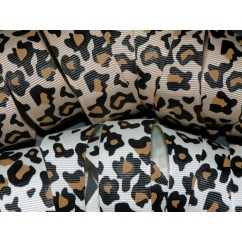 "5 yards 7/8"" Leopard and Cheetah Print Grosgrain Ribbon"