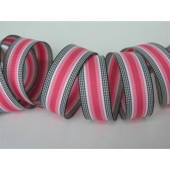 """5 yards 7/8"""" Pink Licorice Stripe Grosgrain Ribbon"""