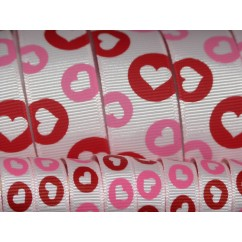 5 yards Lt. Pink Heart Dots Print Grosgrain