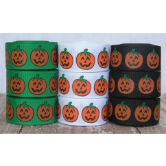 "7/8"" Halloween Pumpkins Print Grosgrain Ribbon"