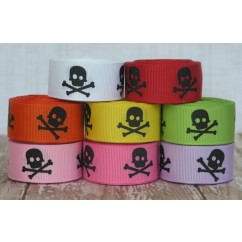 "5 yards 7/8"" Skull Print Grosgrain Ribbon"