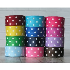 "5 yards 7/8"" Mini Polka Dots Grosgrain Ribbon"